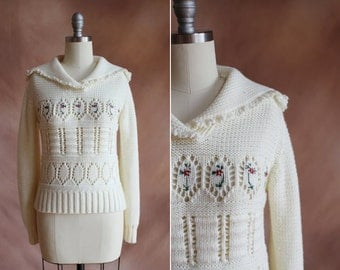 vintage 1980's cream knit sailor collar sweater with floral design / size xs - s