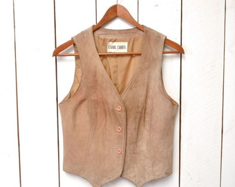Distressed Leather Vest Tan Suede Rugged Rustic 1970s Vintage Small
