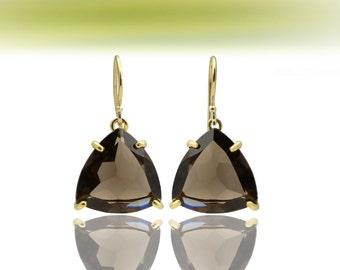 SALE - Gold triangle earrings,gold earrings,smoky quartz earrings,gemstone earrings,trillion earrings,semiprecious earrings