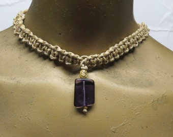 Purple amethyst quartz gemstone beaded choker necklace made with hemp. Long ties in back. HCK-811