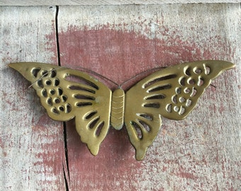 Vintage Hanging Brass Butterfly Wallhanging Wall Decor - #A2459