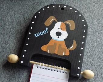 Dog Theme Wood Memo Pad Holder