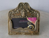 BRASS CARD HOLDER Business Cards Swirling Design Beaded Edging Holder on Easel Stand Made in England Mid 1900's