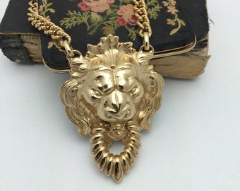 Napier Lion Doorknocker Necklace Large lion necklace vintage Napier necklace
