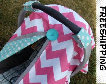 Carseat Canopy Hot Pink Chevron Turqouise REVERSABLE Choose FLOWER or BUTTON