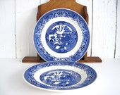 Vintage Blue Willow Dinner Plate Set Blue and White Plates Large 10 Inch Willow Ware Royal China Asian Cottage Chic Farmhouse Kitchen Decor