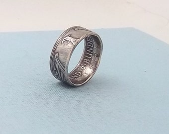 Unique Gift, Silver coin ring made from a 1960 German 5 Mark  62.5% fine silver jewelry size 9