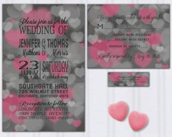 Heart Bokah Wedding Invitations, Pink and Gray Invite Set, Love Themed Wedding, Typography Wedding Invitation, Custom Wedding Invites