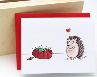 Love is Weird Card- Hedgehog and Pincushion