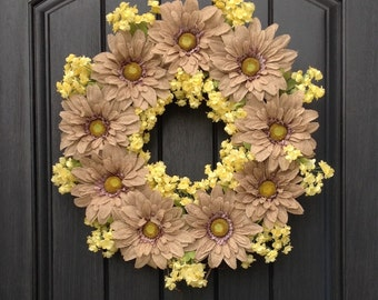 Spring Summer Fall Burlap Daisies Woodsy Natural Grapevine Door Wreath Decor -Use Year Round- Indoor Outdoor Decoration