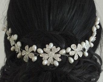 Cataline - Mother Pearl Flower, Freshwater Pearl and Rhinestone Flower Bridal Tiara, Head Band