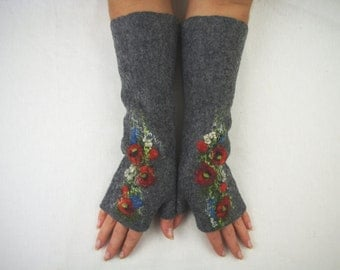 Long Felted Fingerless gloves Fingerless Mittens Arm warmers Gloves Gray Poppies