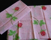 RESERVED  for METTE--Gorgeous Pair of Vintage Pink Pillowcases with Pink Long Stem Roses-Green trim-Pink Polka Dots-NOS-Dura-Soft