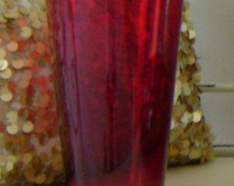Red Glass Vase / Candle Holder
