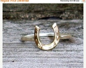 SALE Little Horse Shoe- Sterling Silver and Brass -Stacking Ring