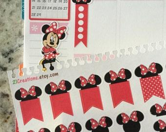 Minnie Planner Stickers, Disney Minnie, Minnie Planner Kit, Coil Sticker Insert - 0026