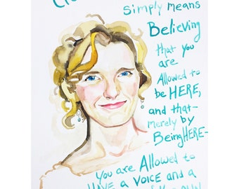 Elizabeth Gilbert portrait, Big Magic Quote (as seen on her facebook page)