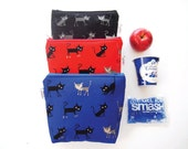 Insulated Snack Sleeve / Lunch Bag / Baby Bottle Case with Waterproof Lining - Cats (Red, Blue or Black)