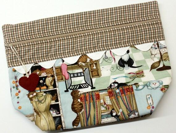 Lil' Big Bottom Crafty Kitty Cats Cross Stitch Embroidery Bag