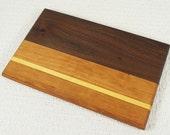 Mini Cutting Board Man Cave Cutting Board for Bar, Small Cutting Board Cherry Walnut and Yellowheart Herb Cutting Board
