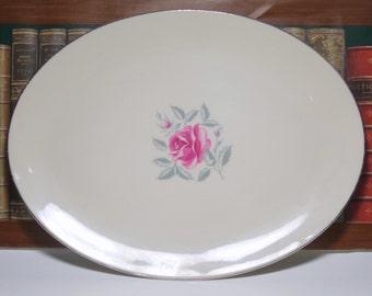 Vintage Flintridge China Rose Platter, USA China, California China, Flintridge USA, Made In California, Flintridge China, China Platter USA