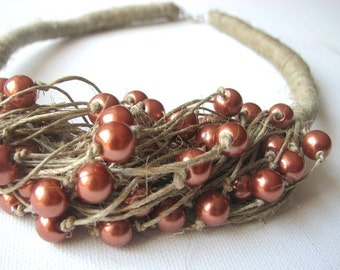 ORANGE  pearls - linen necklace