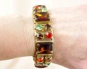 Amber  Rhinestone Bracelet * Gold Bracelet * Cuff Bracelet * Articulated Bracelet * 60s Bracelet * Mod Bracelet * 1960s Bracelet