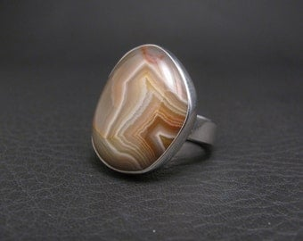 Lake Superior Agate Ring Sterling Silver Ring Agate Ring Lake Superior Agate Jewelry Silver Ring Handmade Philip Troyer Thunder Sky Jewelry