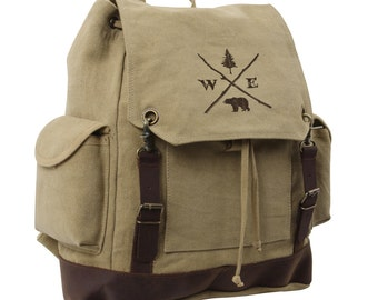 Cotton Canvas Drawstring Backpack - Forest Compass - Expedition Backpack
