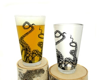 Pint Glass - Octopus Tentacles - Screen Printed Glassware - Set of two 16oz. Pint Glasses
