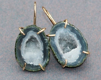 NEW Matched Pair Tobasco Geode Small Drop Earring,Druzy Geode Half Earring,Rough Gemstone,Gold Filled Druzy Post,Green Tobasco Geode Pair