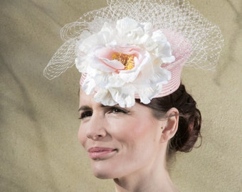 Pink Straw Hat with Veiling and Ivory-Pink Flower