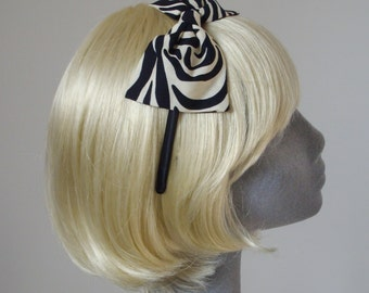Black Headband- Zebra Print Bow Headband