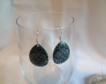 Blue Snakeskin Earrings