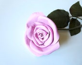 Pink rose -Long Stem pink Rose,  Leather rose -Valentines Gift - 3 Anniversary Gift
