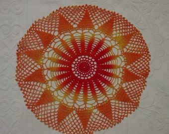 Vintage Hand Crocheted Doily, Dyed for Color Impact, 10""