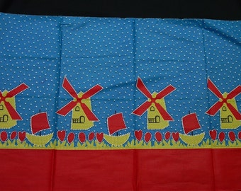 """Cute Fabric for Apron or Crafts, 22 x 36"""" Bright Windmill Design"""