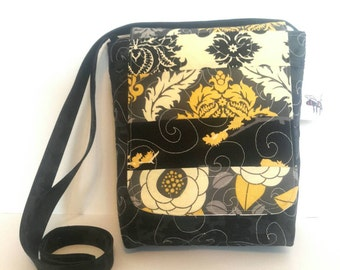 Quilted Cotton Cross Body Bag in Black and Gold Prints Quilted Handbag