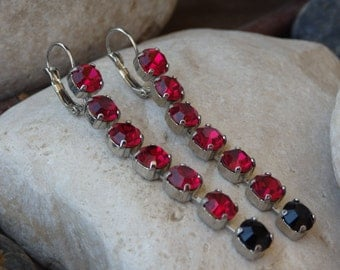 Swarovski red earrings. Ruby swarovski crystal dangle earrings, Oxid Silver earrings, Long crystal earrings, Red & black swarovski earrings