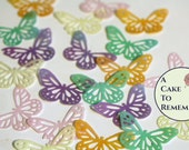 """Edible butterflies, 18 lacy 1 1/2"""", wafer paper butterflies for cake decorating, cookies, cupcakes,  cake pops. Wedding cake toppers."""