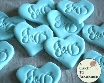 "Fondant monogram cupcake topper hearts, 1.5"" edible wedding cupcake decorations. Edible hearts for cupcakes or cookie decorating."