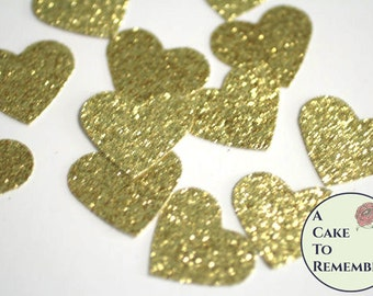 Gold glitter hearts confetti for wedding confetti, bridal showers, birthday party decor, scrapbooking or cake table decor. Paper hearts
