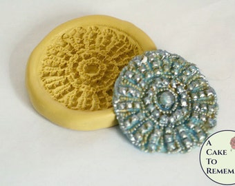 Round rhinestone medallion silicone mold, beaded mold for cake decorating, polymer clay or resin mold, fondant medallion mold M5088