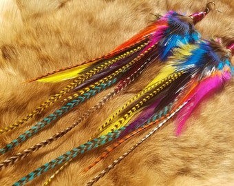 LONG Rainbow Feather Earrings - Bullet Topped