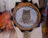 Halloween OWL badge - folk art prim primitive tulle pin wool banner boo