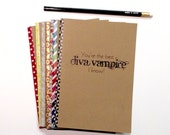 Personalized notebook, journal, diary, sketchbook, custom size, front and edge.