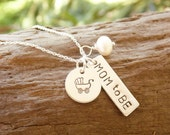 Hand Stamped Necklace Sterling Silver for Expectant Mother