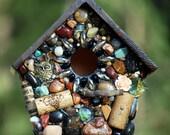 Mosaic birdhouse Outdoor Birdhouse with Owl and NapaValley Wine Stone functional Outdoor garden owl fancy birdhouse wine cork art bird lover