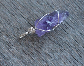 Amethyst Sterling Silver Wire Wrapped Pendant #4990