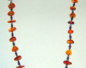 "Unique Antique 1930s NATURAL BALTIC AMBER Beads nECKLACE  19 1/2"" length 72 grams Art Deco"